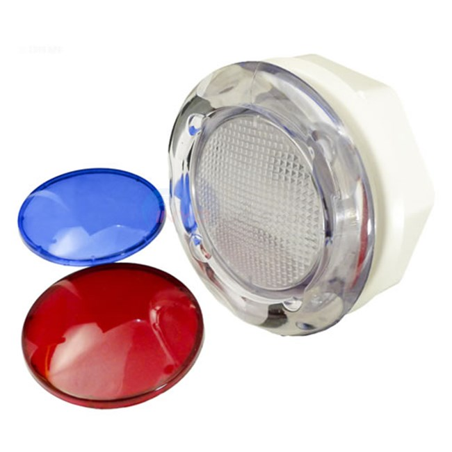 "Wall Fitting,3 3/4""Hole Size,5"" Face,w/red & blue lenses (630-K005)"