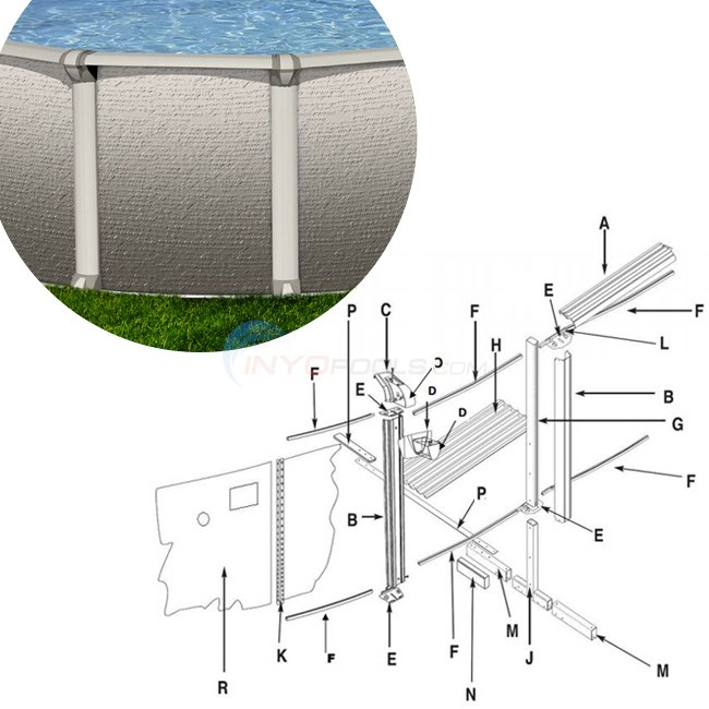 "Conquest 8x12' Oval 52"" Wall (Steel Top Rail, Steel Upright) Parts Diagram"