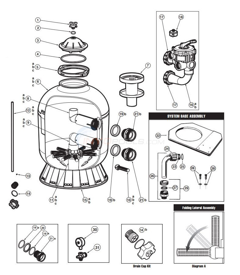 Hayward Pro Series - Side Mount Sand Filter Diagram
