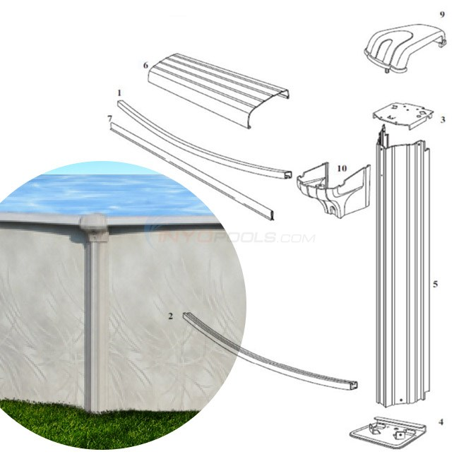 "Allure 8' Round 52"" Wall (Steel Top Rail, Steel Upright) Diagram"