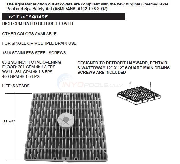 "Aquastar 12"" x 12"" Square Retrofit Cover Diagram"