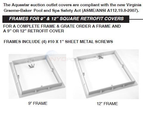 Aquastar Square Cover Frames Diagram