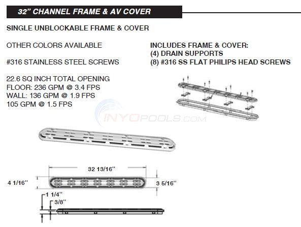"Aquastar 32"" Channel Frame & AV Cover Diagram"