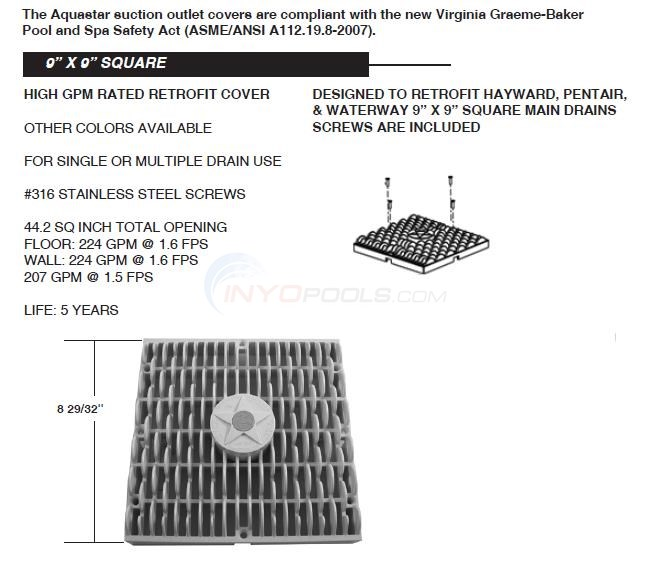 "Aquastar 9"" x 9"" Square Retrofit Cover Diagram"
