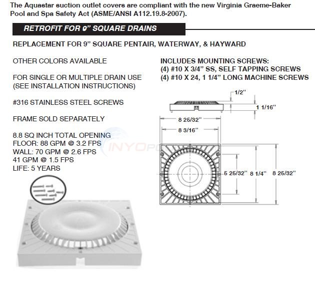 "Aquastar 9"" Square Drain Retrofit Diagram"