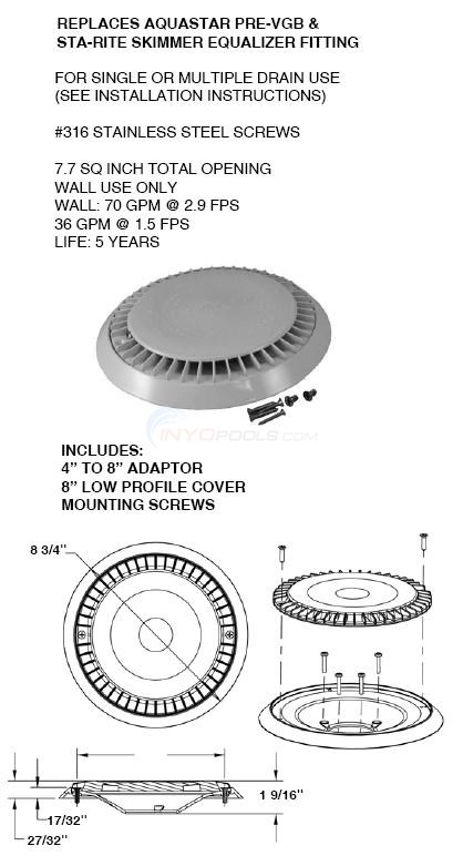 Aquastar Round Skimmer Equalizer Retrofit Kit Diagram