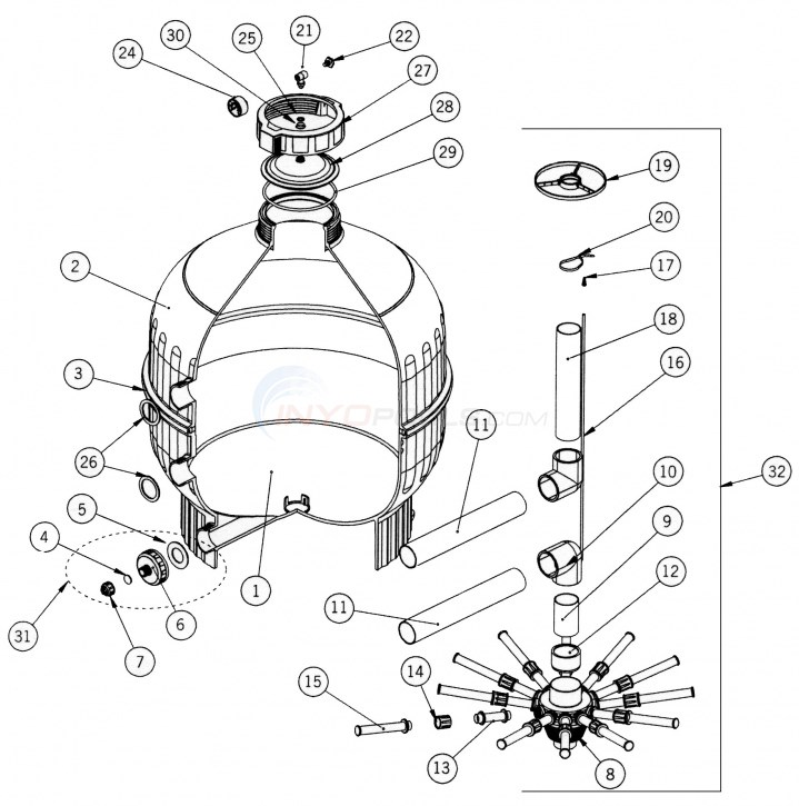 "Astral Cantabric Side Mount Sand Filter (30"") Parts Diagram"