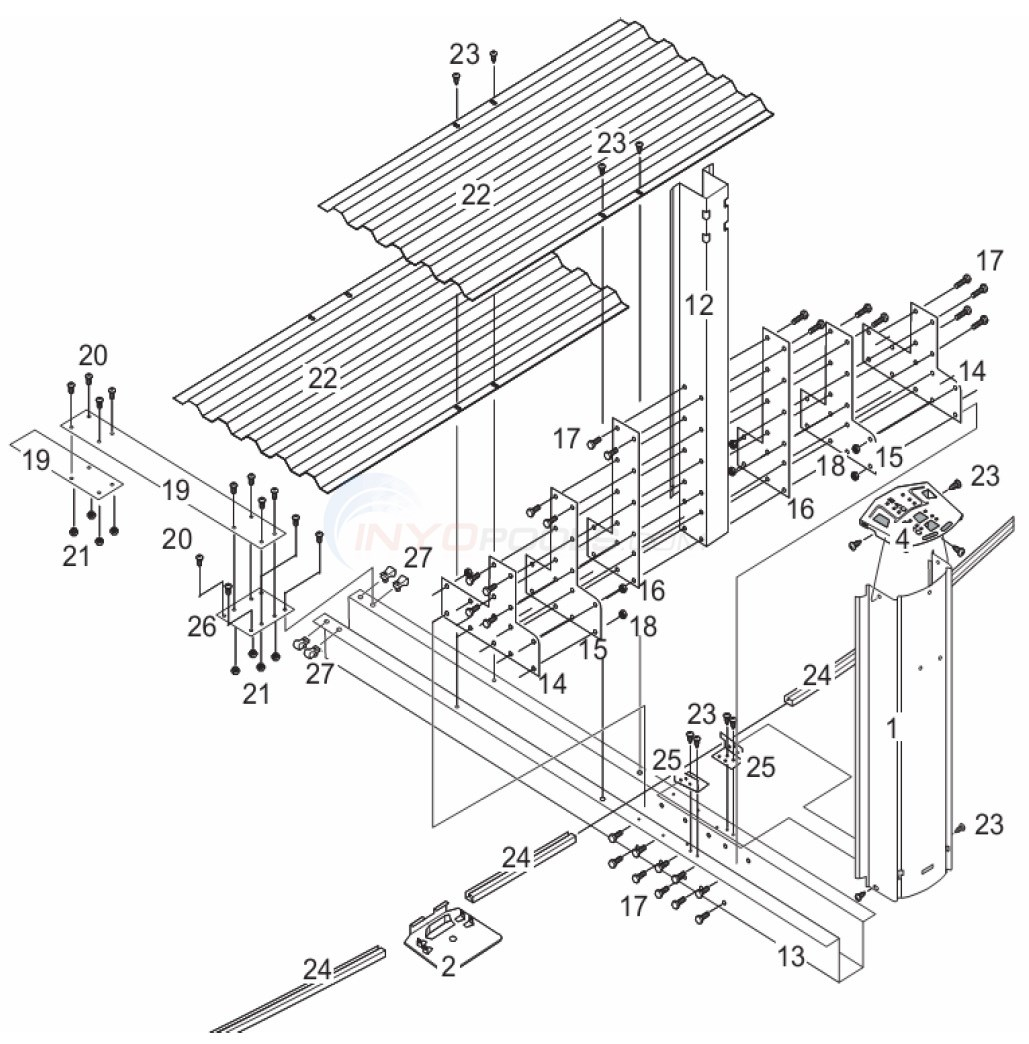 Belize 12'x24' Oval (Steel Top Rail, Steel Upright) Diagram