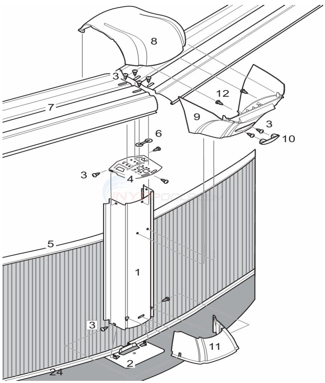 "Belize 33' Round 52"" Wall (Steel Top Rail, Steel Upright) Diagram"