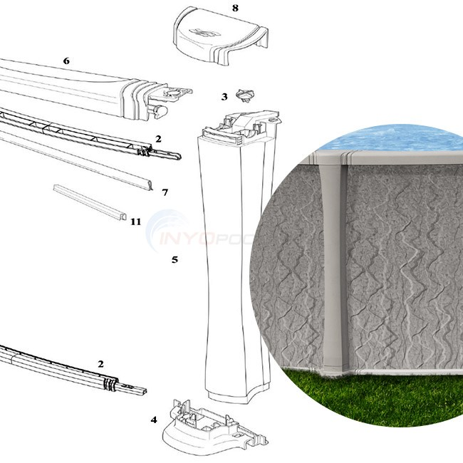 "Bliss 24' Round 54"" Wall (Resin Top Rail, Resin Upright) Diagram"
