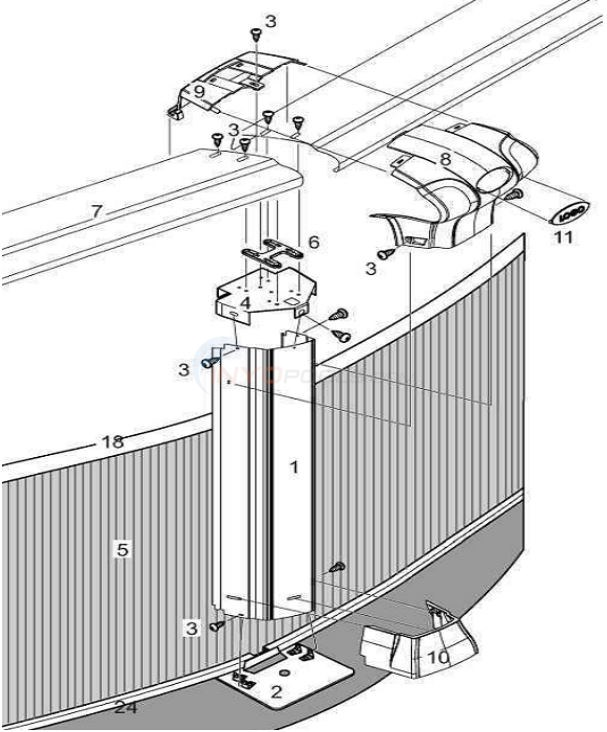 "Barrier Reef 21' Round 52"" (Resin Top Rail, Steel Upright, Steel Top/Resin Bottom Stabilizer) Parts Diagram"