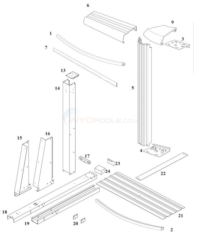 "Bristol 15' x 30' Yardmore Oval 52"" (Steel Top Rail, Steel Upright) Diagram"