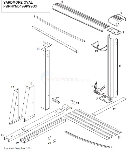 Brownstone Oval 15'x26' ( Steel Top Rail, Steel Upright )  Diagram