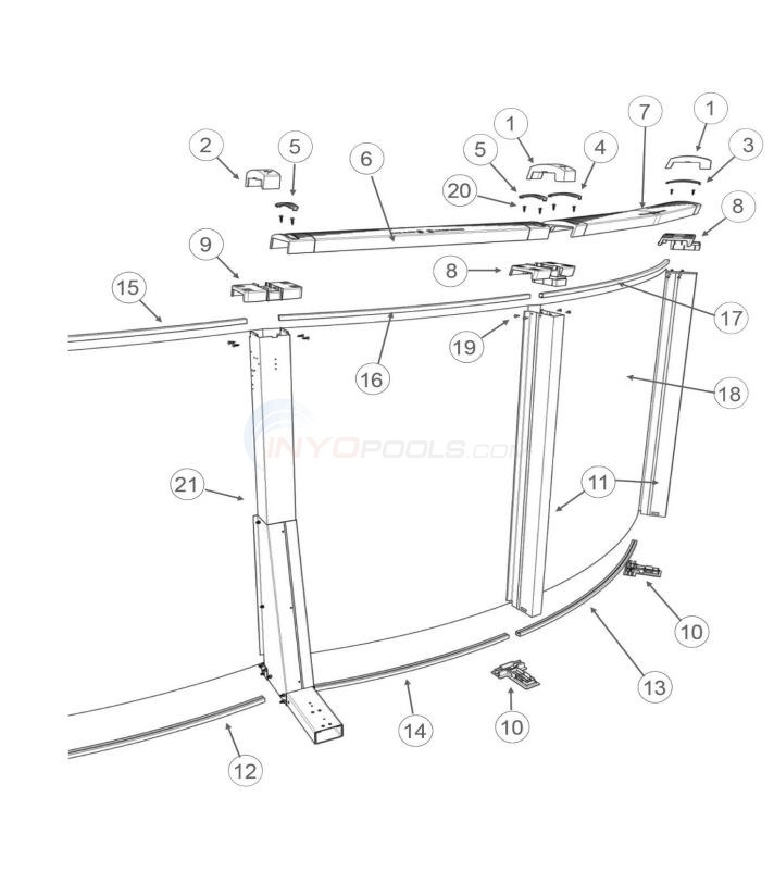"Caspian 15' x 26' Yardmore Oval 54"" (Resin Top Rail, Steel Upright) Diagram"