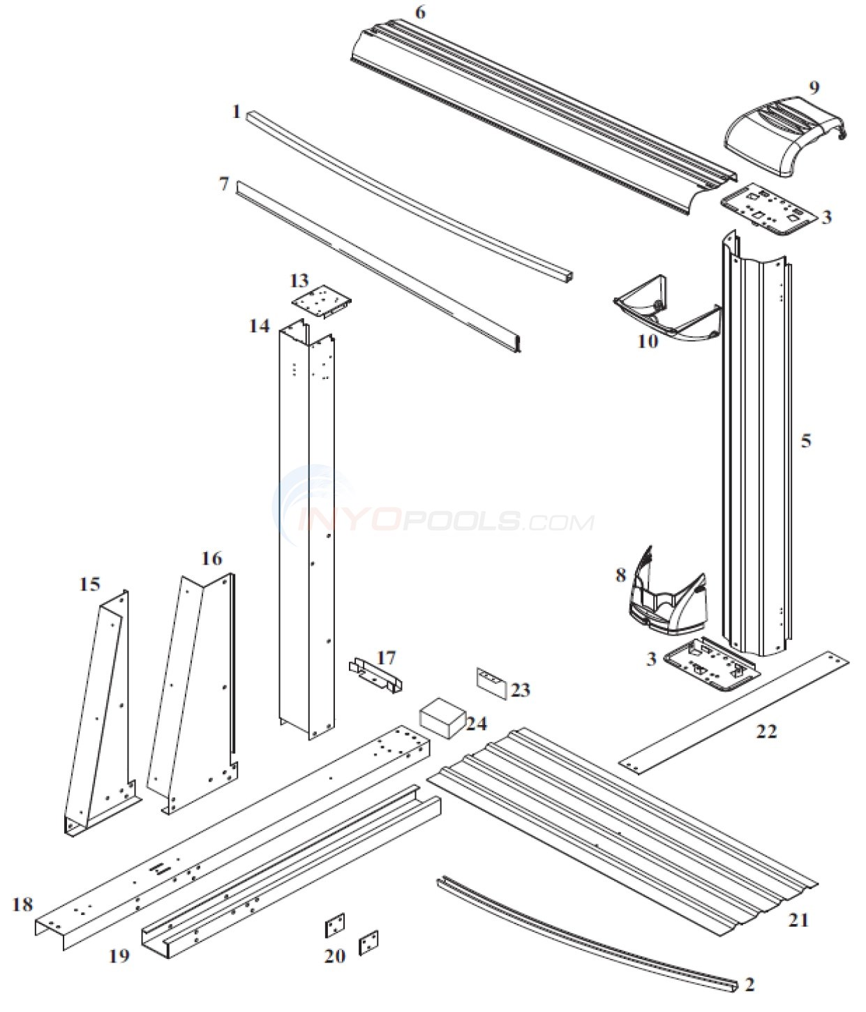 Cayman 12'x17' Oval (Steel Top Rail, Steel Upright) Diagram
