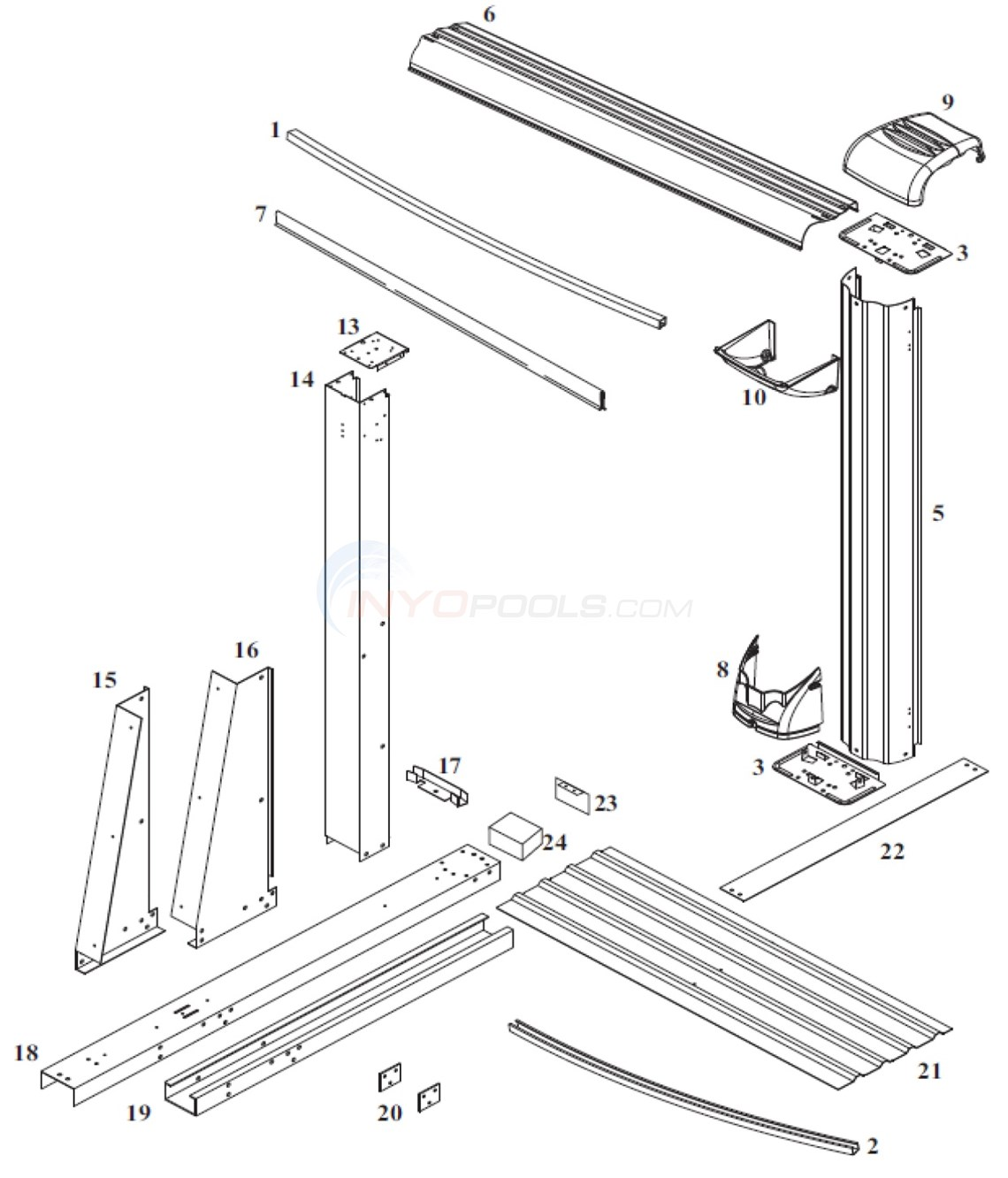 Cayman 12'x24' Oval (Steel Top Rail, Steel Upright) Diagram