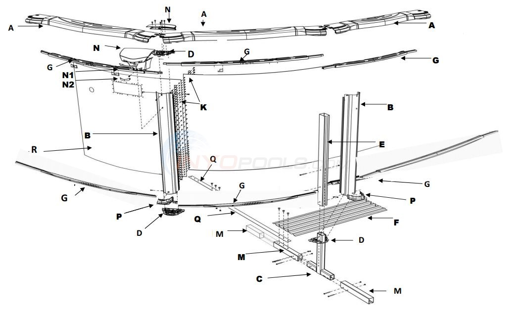 "Costa Del Sol 15x26' Oval 52"" (Resin Top Rail, Steel Upright, Resin Stabilizer) Parts Diagram"