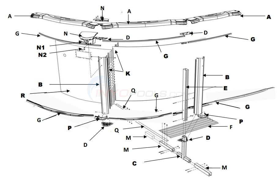 "Costa Del Sol 15x30' Oval 54"" (Resin Top Rail, Steel Upright) Parts Diagram"