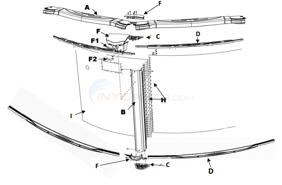 "Costa Del Sol 12' Round 52"" (Resin Top Rail, Steel Upright, Resin Stabilizer) Parts Diagram"