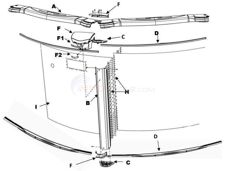 "Costa Del Sol 30' Round 54"" (Resin Top Rail, Steel Upright, Resin Stabilizer) Parts Diagram"