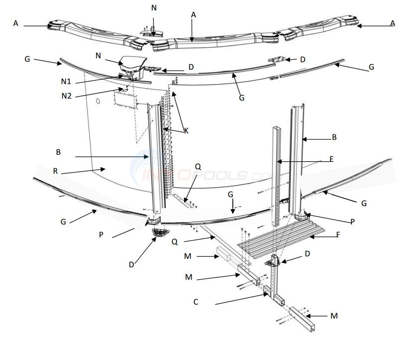 "Costa Del Sol 15x30' Oval 52"" (Resin Top Rail, Steel Upright, Steel Top/Resin Bottom Stabilizer) Par Diagram"