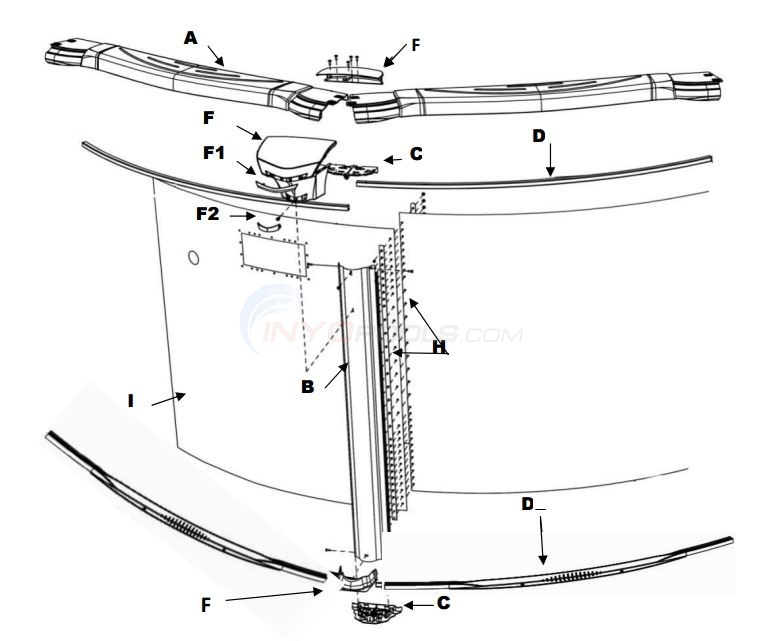 "Costa Del Sol 30' Round 52"" (Resin Top Rail, Steel Upright, Steel Top/Resin Bottom Stabilizer) Parts Diagram"