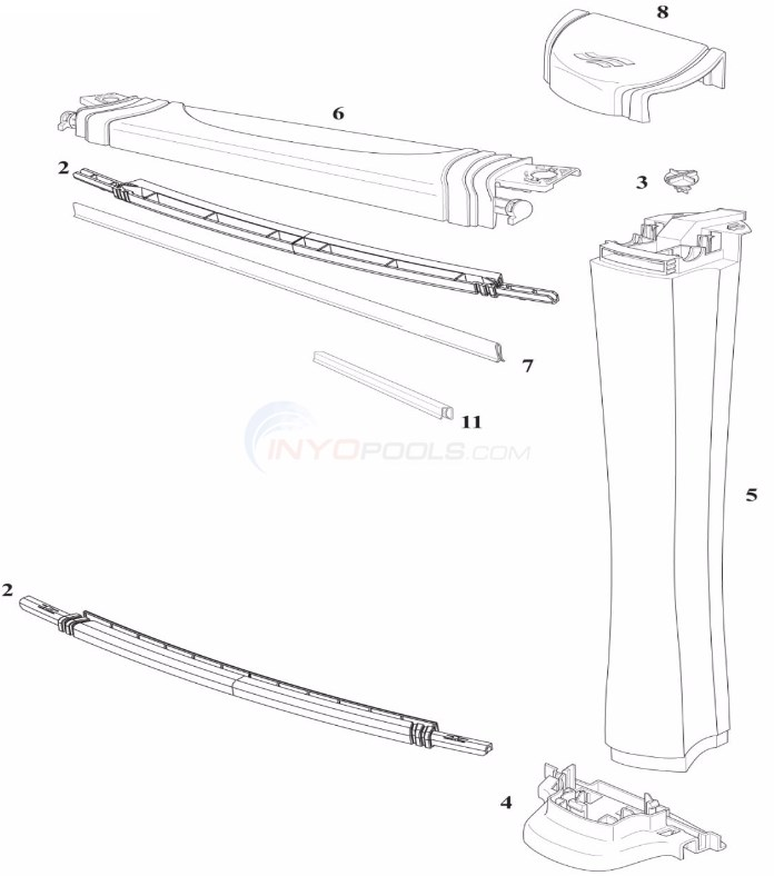 "Centurion 18' Round 52"" Wall (Resin Top Rail, Resin Upright)  Diagram"
