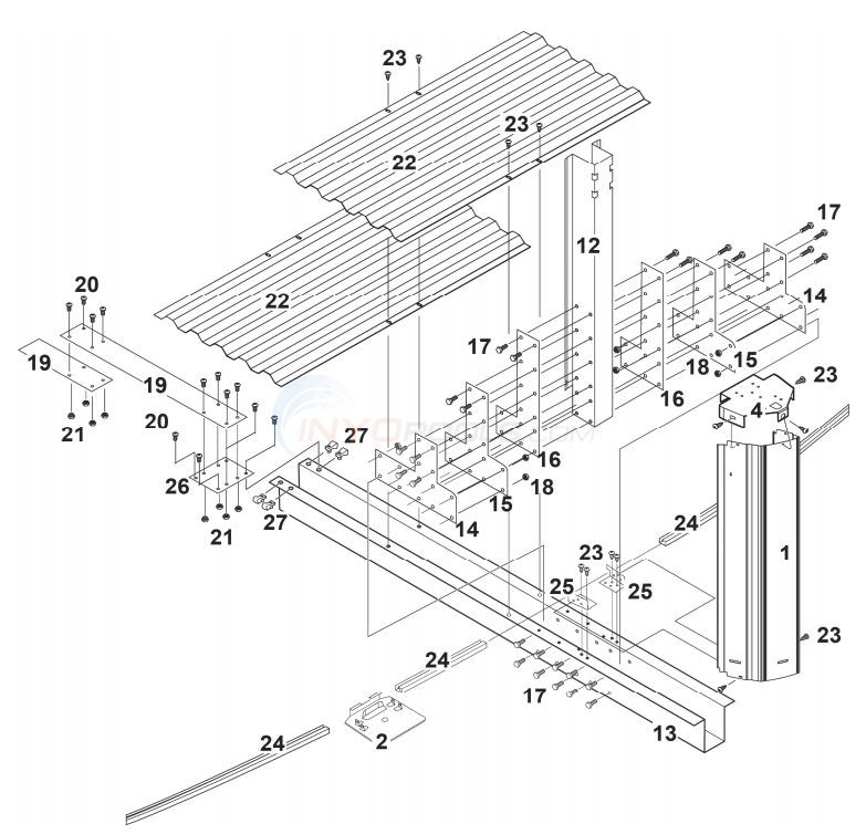 "Century Gibraltar 15x24' Oval 52"" (Steel Top Rail, Steel Upright) Parts Diagram"