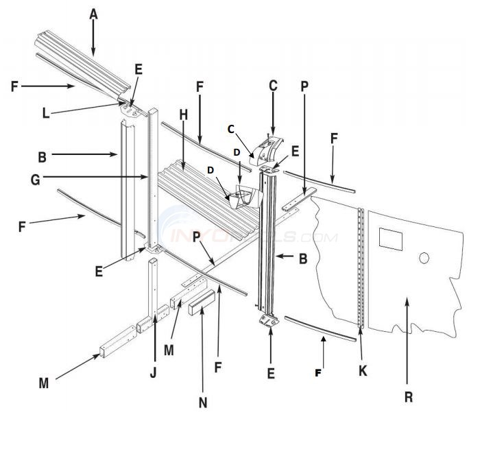 "Conquest 15x30' Oval 52"" Wall (Steel Top Rail, Steel Upright) Parts Diagram"