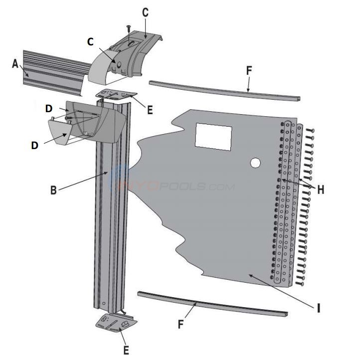 "Conquest 30' Round 52"" Wall (Steel Top Rail, Steel Upright) Parts Diagram"