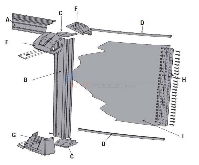 "Distinction 8' Round 52"" Wall (Steel Top Rail, Steel Upright) Parts Diagram"