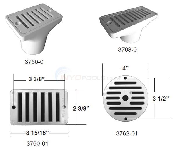 Hayward/Pentair Deck and Gutter Drains Diagram