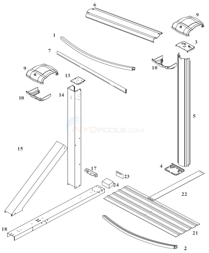 Eclipse LX 12'x24' Oval (Steel Top Rail, Steel Upright) Diagram