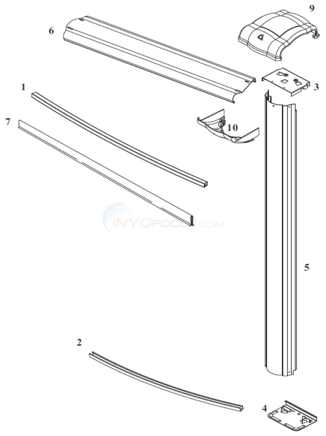 "Eclipse LX 8' Round 52"" Wall (Steel Top Rail, Steel Upright) Diagram"