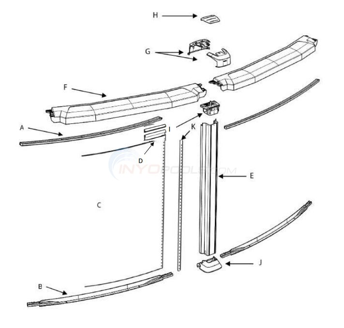 "Elixir 15' Round 52"" Wall (Resin Top Rail, Steel Upright) Parts Diagram"