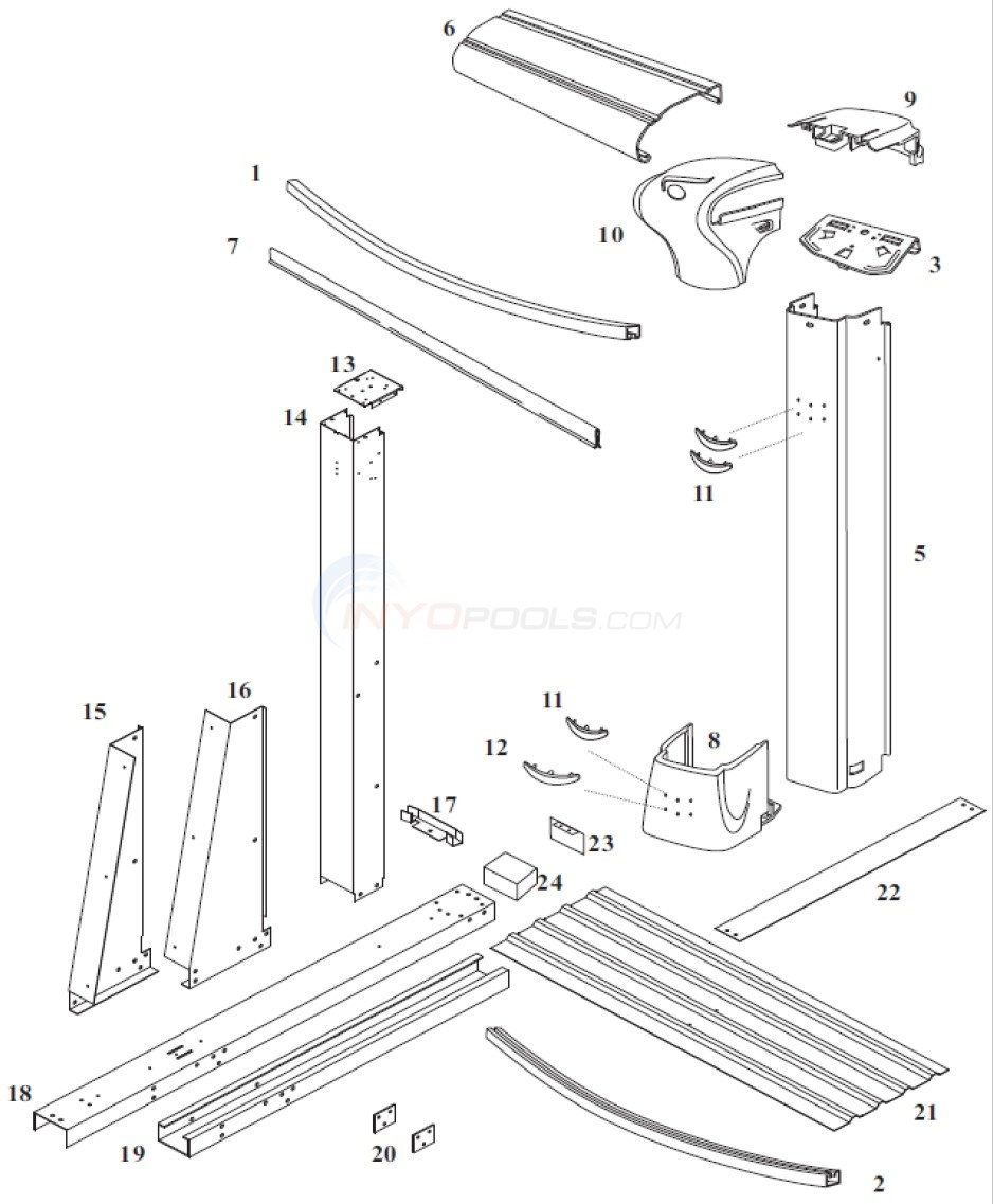 Endeavor 12'x24' Yardmore Oval (Steel Top Rail, Steel Upright) Diagram