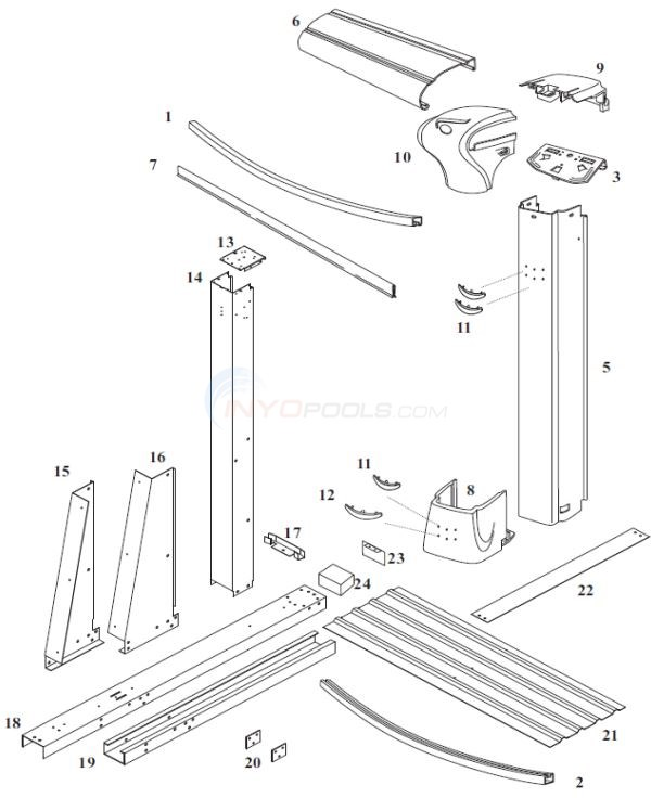 "Endeavor 12' x 24' Yardmore Oval 52"" Wall (Steel Top Rail, Steel Upright) Diagram"