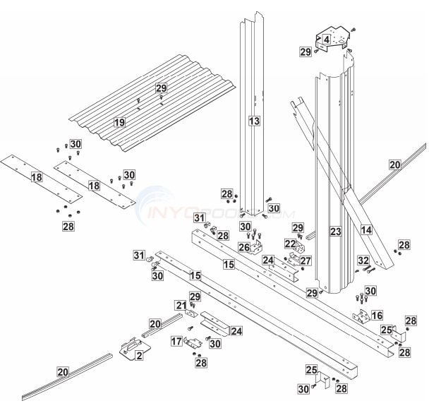 "Epic Channel Lock 15x24' Oval 52"" Wall ( Steel Top Rail, Steel Upright ) Parts Diagram"