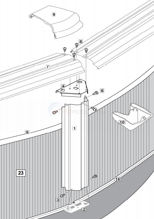 "Esprit 15' Round 52"" Wall ( Steel Top Rail, Steel Upright ) Parts Diagram"