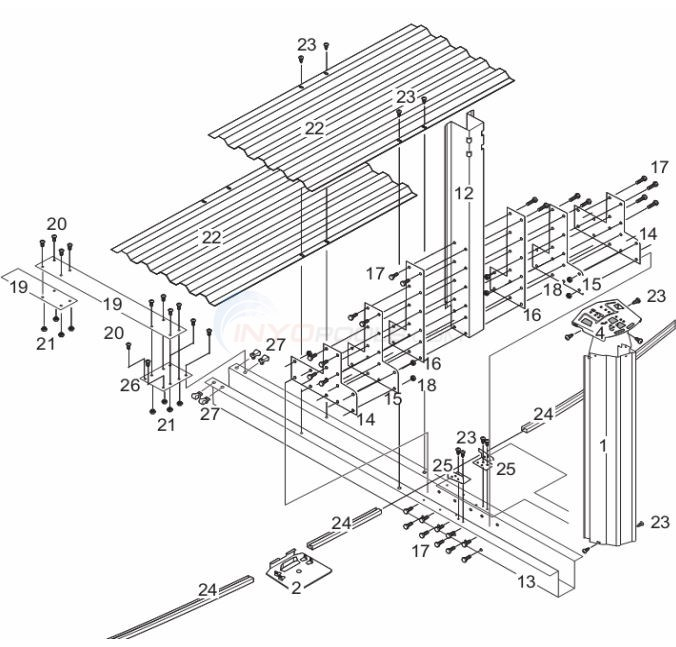 "Estate 12x24' Oval 52"" Wall ( Steel Top Rail, Steel Upright ) Parts Diagram"
