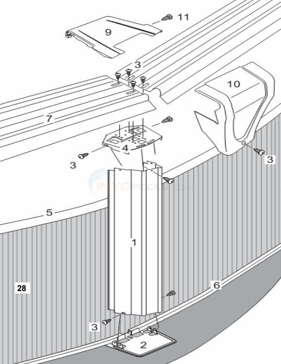 "Estate 8' Round 52"" Wall ( Steel Top Rail, Steel Upright ) Parts Diagram"