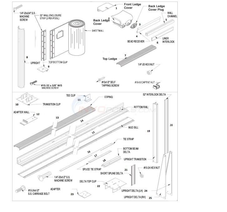 "Fairfield 12' x 18' Oval 52"" Wall (Aluminum Top Rail, Aluminum Upright) Diagram"