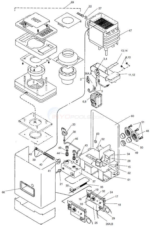 teledyne spa gas heaters parts inyopools com rh inyopools com gas heater diagram gas heater diagram