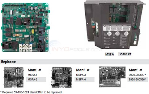 Gecko MSPA - 1 To 4 Board Replacement Kit Diagram