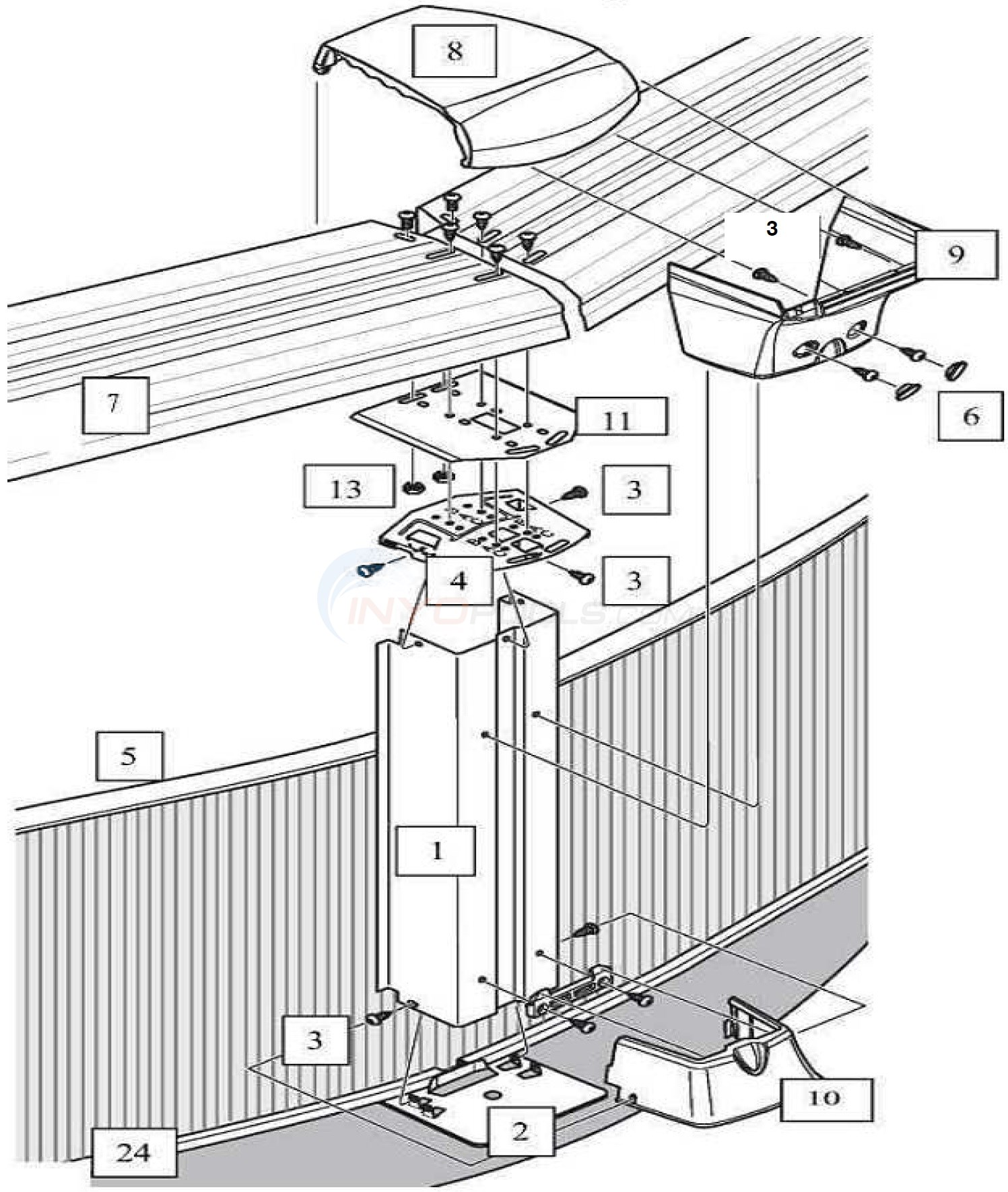 "Generation 21' Round 52"" Wall (Steel Top Rail, Steel Upright) Diagram"
