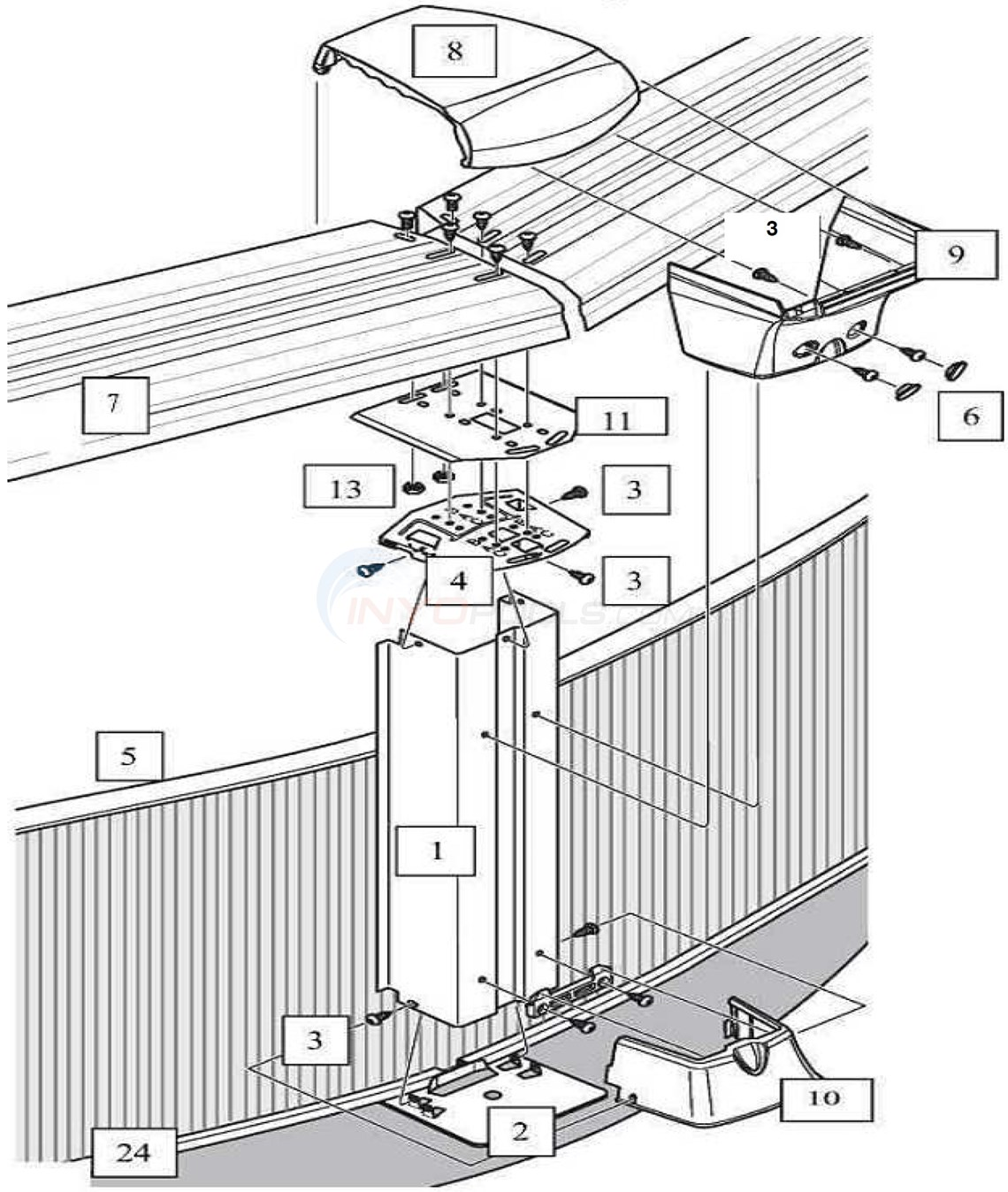 "Generation 33' Round 52"" Wall (Steel Top Rail, Steel Upright) Diagram"