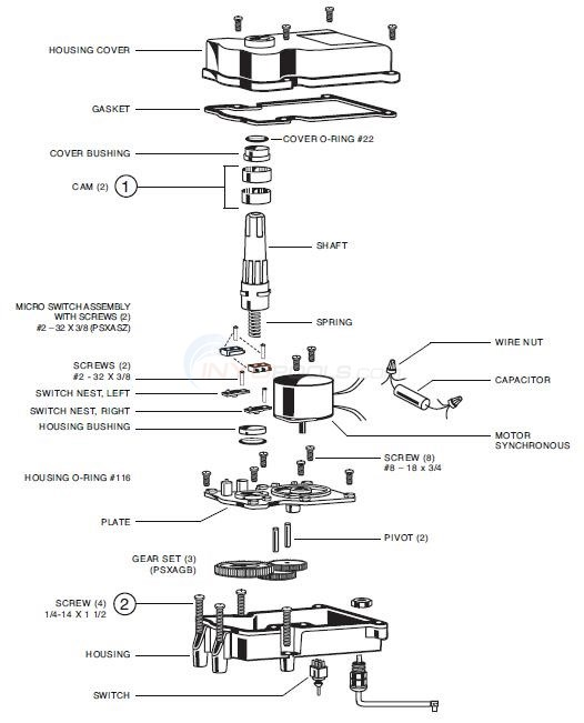 Hayward / Goldline Valve Actuators Diagram