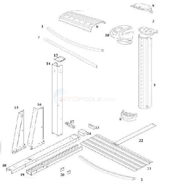 "Harbortown Yardmore 15'x30' Oval 54"" Wall (Resin Top Rail, Steel Upright) Diagram"
