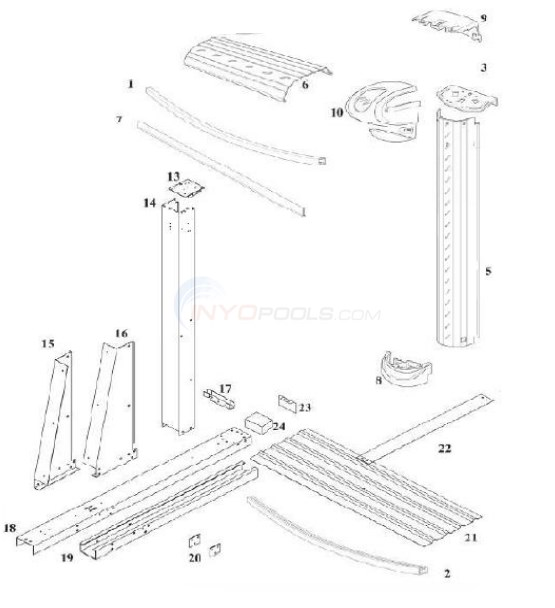 "Harbortown Yardmore 18'x33' Oval STR 52"" Wall (Steel Top Rail, Steel Upright) Diagram"