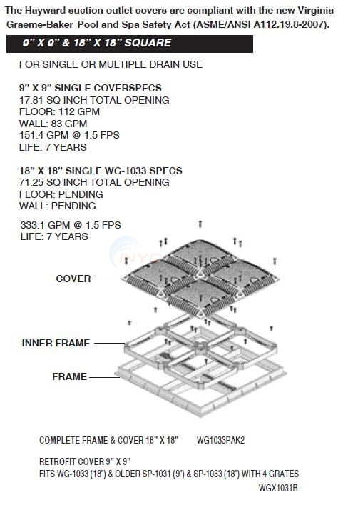"Hayward 9"" & 18"" Square Frames & Covers Diagram"